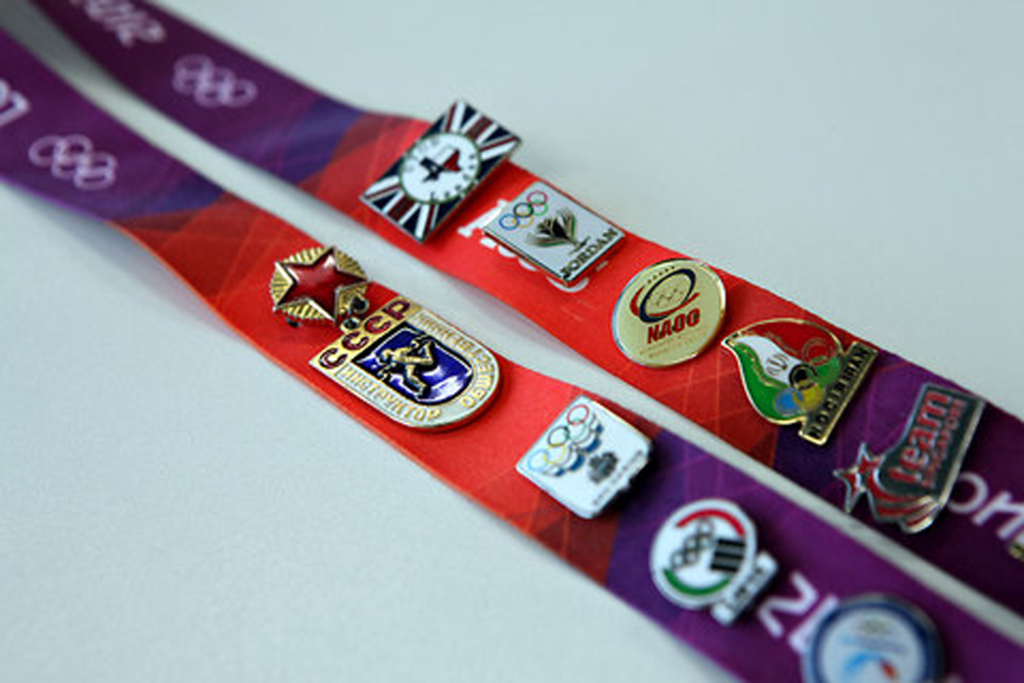 baseball trading pins on lanyard