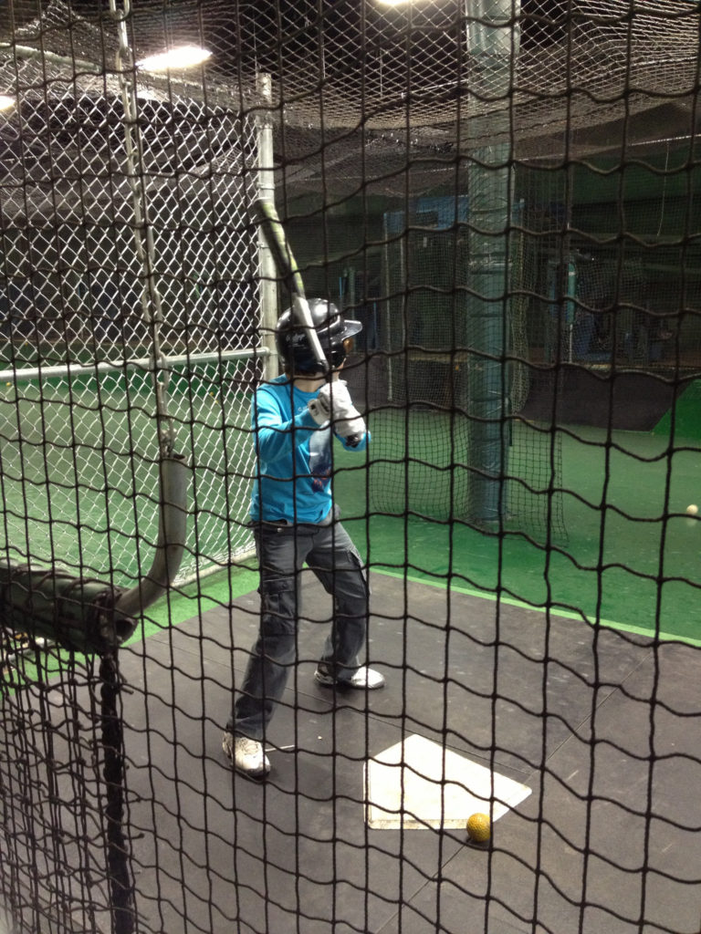 batter in batting cage