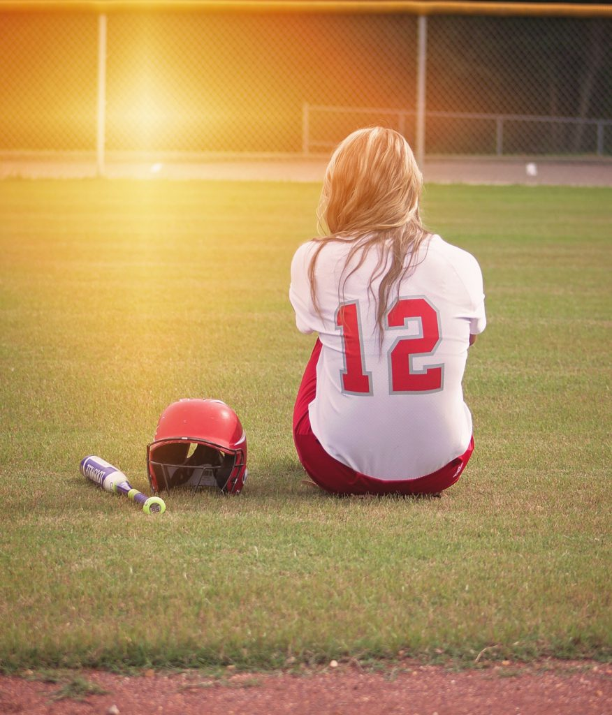 softball player on the grass