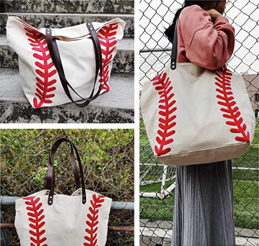 amazon canvas baseball tote bag