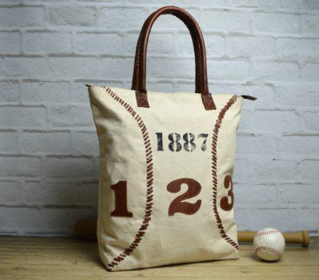 baseball canvas tote bag