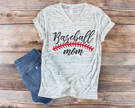 baseball mom T-shirt and jeans