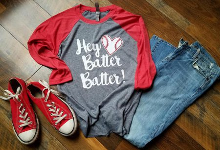 baseball style shirt and jeans