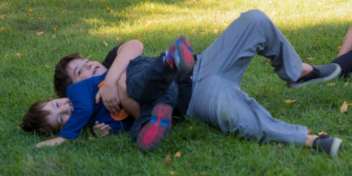 brothers wrestling in grass