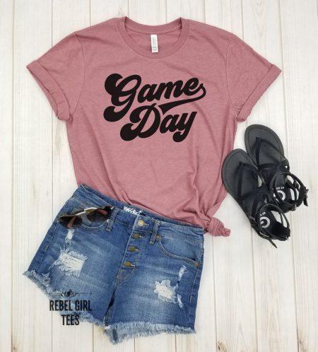 dark pink game day tshirt