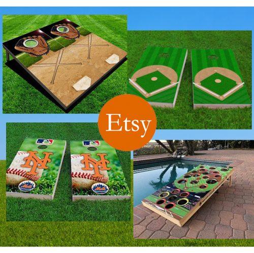 etsy baseball cornhole rectangular banner