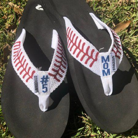 etsy baseball flip flops