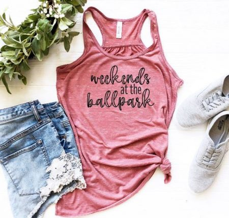 etsy weekends at the ballpark tank top