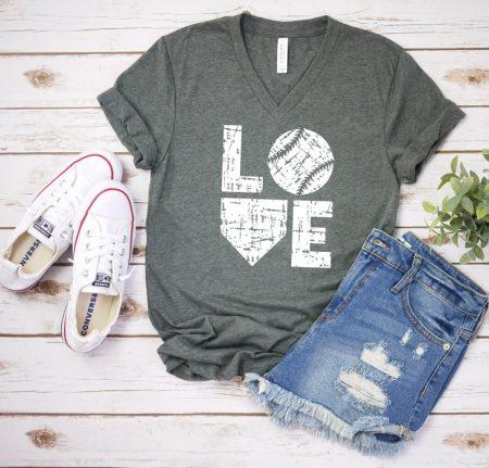 love baseball gray v-neck tshirt