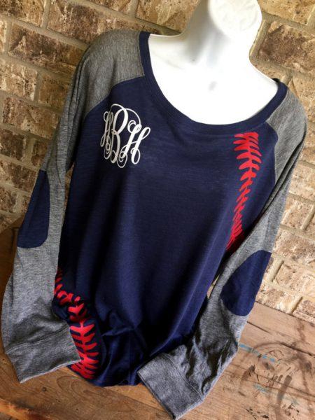 monogram long sleeve baseball shirt