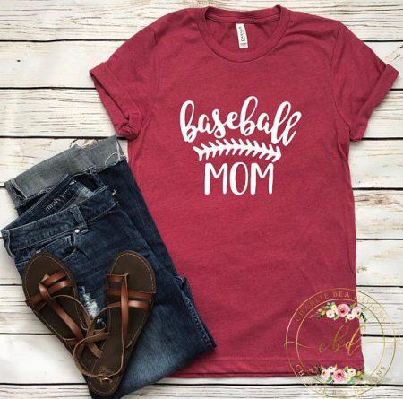 red baseball mom t-shirt