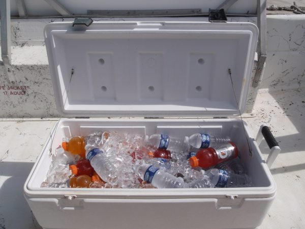 stocked ice chest