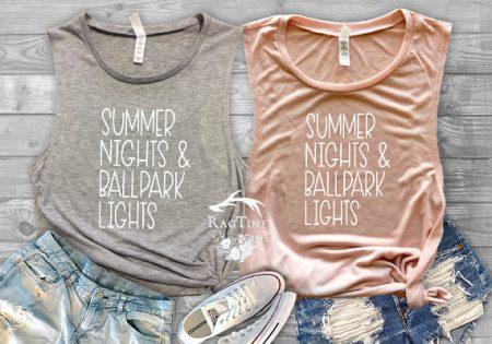 summer nights & ballpark lights tank tops